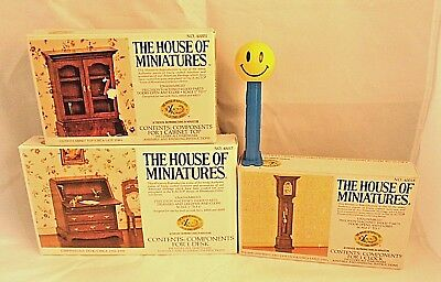 Vintage House of Miniatures '77 Cabinet Top, Desk, Wm. & Mary Clock New Open Box