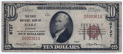 1929 $10 US National Currency Bank Note TYPE 1 Hart Michigan 6727 F-1801-1