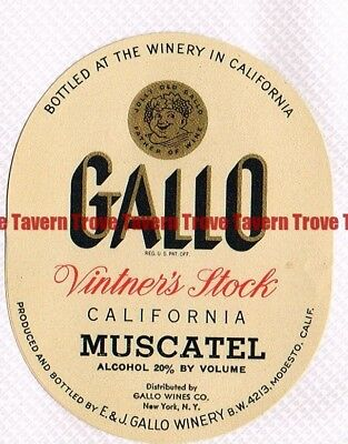 Unused 1940s CALIFORNIA Modesto To NYC GALLO VINTNER'S MUSCATEL WINE