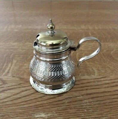 Vintage Engine Turned Silver Mustard Pot