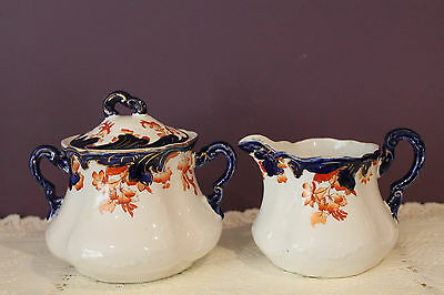 Royal Semi  Porcelain Flow Blue Pitcher And Covered Sugar Bowl - Florentine