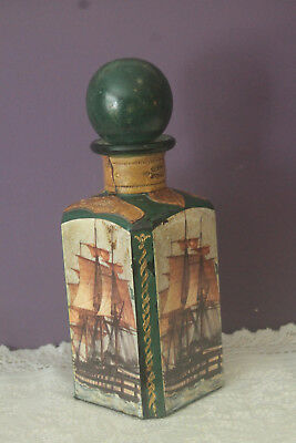 Embossed Leather Covered Wine Bottle Decanter With Stopper Made In Italy