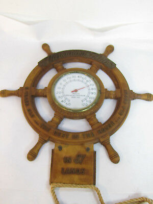 Hiram Walker Canadian Club Whisky Thermometer Advertising Wooden Ships Wheel USA