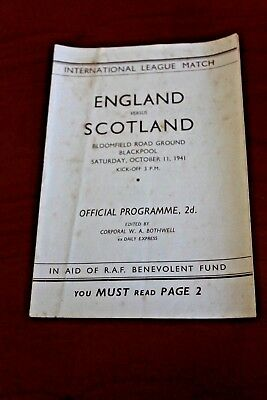 England v Scotland WARTIME FOOTBALL PROGRAMME - 1941  oct 11th  bloomfield road
