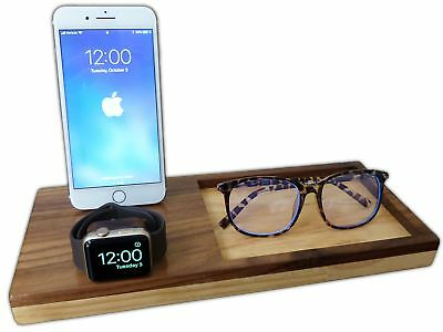 2 IN 1 Wooden Charging Station Dock For iPhone & Apple Watch iPhone Stand