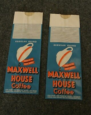 2 Vintage Advertising MAXWELL HOUSE COFFEE BagS Unused Blue Orange White