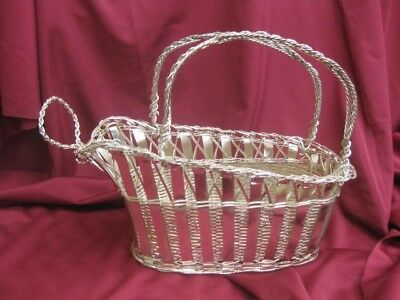 VINTAGE Silver Plated Wire Wine Bottle Holder Server Cradle Basket Party