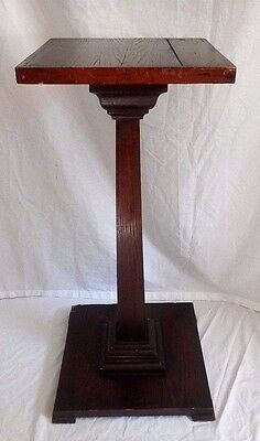 """Antique Early Oak Wood Pedestal Plant Stand Square Craftsman Style 33 1/4"""" Tall"""