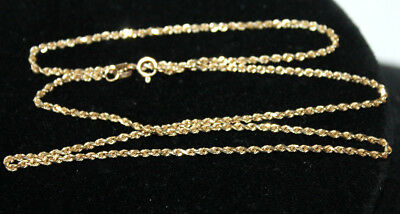 """Vintage 14K Yellow Gold Rope Necklace, 18"""" Marked 14k,  3.6 GRAMS Scrap or Wear"""