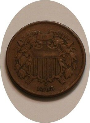 1865 Two Cent Piece 2¢ nice Original FULL DETAIL