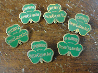 Lot of 6 1930's BEVERWYCK IRISH CREAM ALE Lapel Pins Albany NY Clover Beer Pin