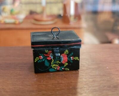 Miniature Artisan Signed Mary O'brien Hand Painted Toleware Bridal Box Opens