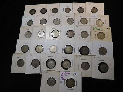 K30 Great Britain Silver 3 & 6 Pence Huge Mixed Group 32 pcs Total