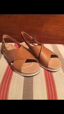 ab29300603f UGG AUSTRALIA WOMEN'S KAMILE ALMOND Brown Leather 1092258 Casual Strappy  Sandals