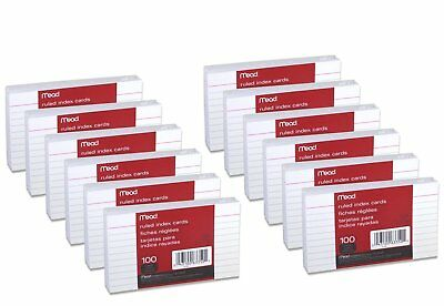 """Mead 3"""" x 5"""" Index Note Cards, Ruled, White, Pack of 1200 Queue Cards(63350)"""