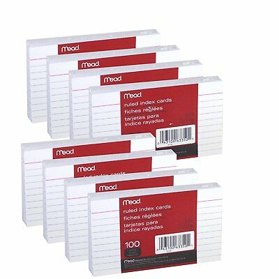 """Mead 3"""" x 5"""" Index Note Cards, Ruled, White, Pack of 800 Queue Cards(63350)"""