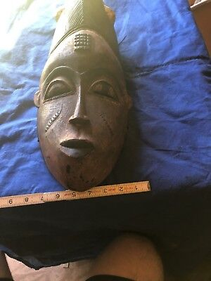 Vintage African Hand Carved Wood Tribal Mask 18""
