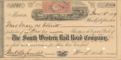 South Western Rail Road Company, 1869 - 1 Shares - mit schöner Steuermarke ! RAR