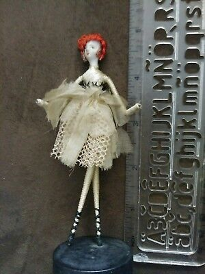 Vintage Miniature 1920's Porcelain doll silk wired wrapped Body Unique!