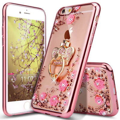 US Shockproof Bumper Silicone TPU Bling Clear Cover Case For iPhone X 6 7 8 Plus