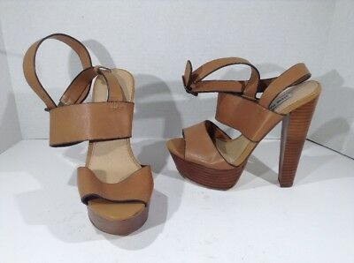 fac72412b3a8 STEVE MADDEN Womens Dezzzy Brown Leather Platform Heels Shoes Sz 6.5 NS-199