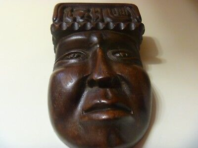 Vintage Hand Carved Decorative African Tribal Wooden Face Wall Plaque 7""