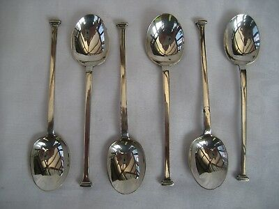 SET OF SIX SOLID SILVER SEAL END TEASPOONS - C.W.Fletcher, Sheffield, 1924