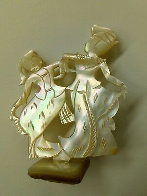 Antique Asian ornament flat dancing figures carved mother of pearl