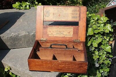 Vintage Wooden Box Compartments Lidded Crafts Paints - Yorkshire Dales Reclaim
