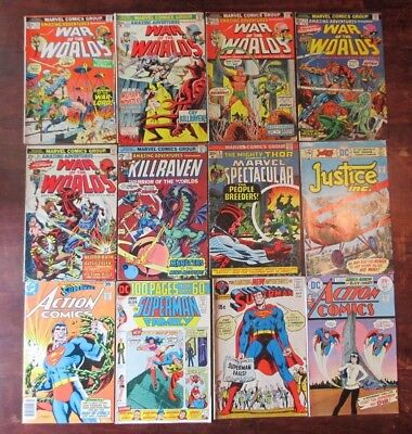 Bronze Age Marvel & DC Lot of 12, Action Comics, Superman, & Amazing Adventures