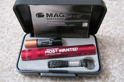 Maglite Boxed AAA Solitaire Mini Pocket Keyring LED Light Torch Red