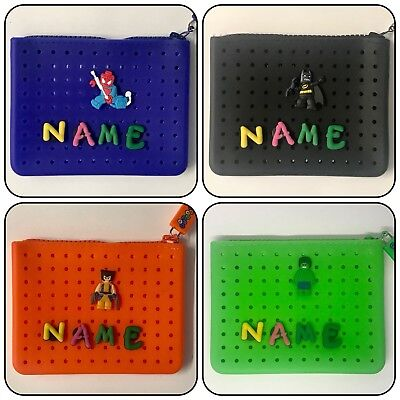 Personalised Name Black Blue Orange Green Money Purse + Super Hero Marvel Charms