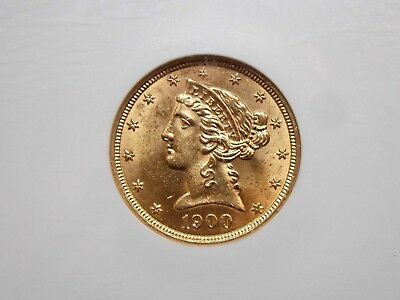 1900 $5 Gold Liberty Head Half Eagle NGC MS62 East Coast Coin & Collectables Inc