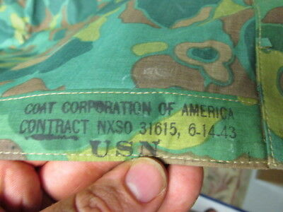 Wwii Us Navy Camouflage Poncho-Excellent-Nice Markings-Dated 1943