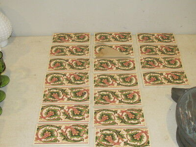 "Vintage Lot of 18 Enameled Ceramic 6 x 3"" Tiles Made in England VFC"