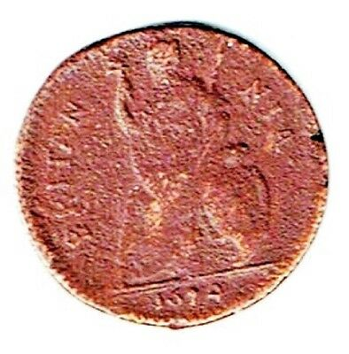 1674 Charles II Copper Farthing,First Modern Depiction Of Britannia ,7-14