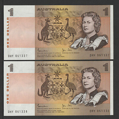 Johnston / Stone 1982 :Consecutive pair of Australian One Dollar Paper Notes Unc