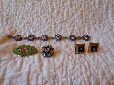 antique/vintage Italian made micro mosaic jewelry lot.....