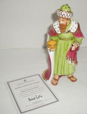 Royal Doulton Holiday Traditions Nativity Porcelain Melchior Figurine with Box
