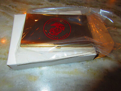 Solid Brass U.s. Marine Corps Business Card Holder, New