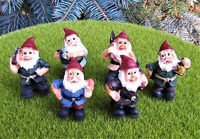 Miniature Dollhouse Fairy Garden Set of Six Gnomes - Buy 3 Save $5