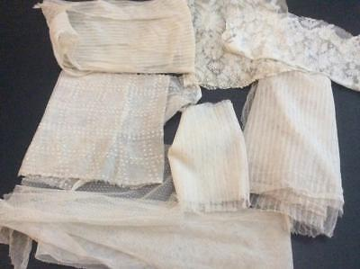 Lot Antique Net Lace Fabric Salvage Pieces Sewing  Dolls