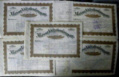 I have 5 - 1912 & 1916 Matson Navigation Company Matson Lines stock certificates