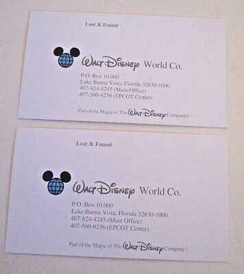 Walt disney world co business cards lost found lot of two lake walt disney world co business cards lost found lot of two lake buena vista fla reheart Image collections