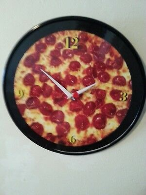 """Pizza Lover -12"""" Wall Clock Made From Recycled Vinyl Lp / Good Enough To Eat"""