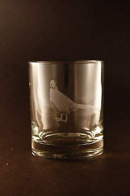 Etched Pheasant on Lowball Old-Fashion Glasses - Set of 2