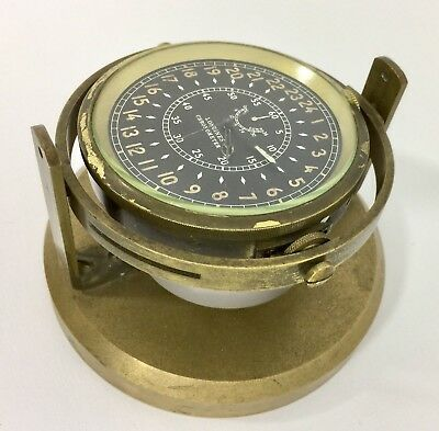 1943 LONGINES Marine Ship CHRONOMETER w. Heavy Brass Gimbal Stand