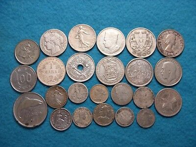 (24) Mixed Country World Silver Coin Lot.