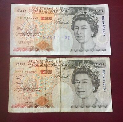 Lot Of (2 ) Bank Of England 10 Pounds  Banknotes 1993 Circulated