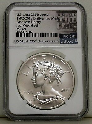 American Liberty 225Th Anniversary Silver Medal...1792-2017 D Ngc Ms69